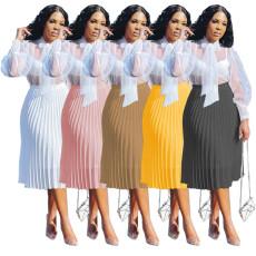 Casual solid Chiffon pleated skirt (single skirt)