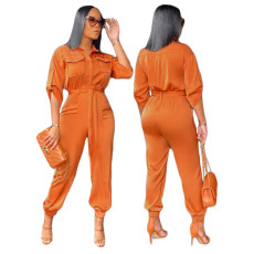 Tooling lace up casual Jumpsuit