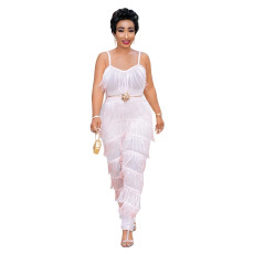 Fashion sexy tassel pleated Jumpsuit