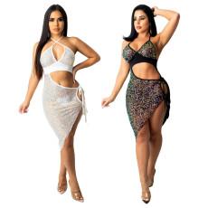 Fashion sexy bead cut-out dress