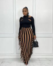 Fringe Stripe Skirt on both sides