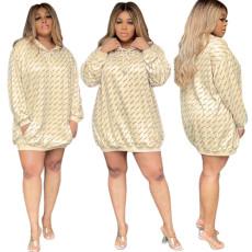 Fashion print hooded loose dress