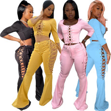 Bandage button flared pants two piece set