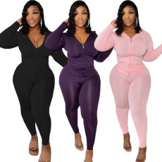 Sexy tight solid two piece set