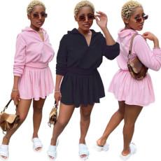 Solid velvet Pleated Mini Skirt Set