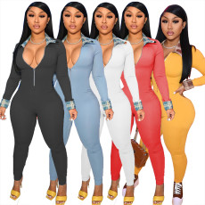 Fashion sexy color matching Jumpsuit