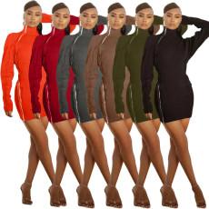Fashion double zipper slim dress
