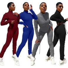 Fashion sexy drawstring pleated Jumpsuit