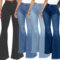 Fashion high waist elastic denim flared pants