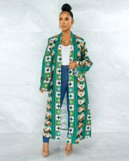 Fashion casual loose print long sleeve coat