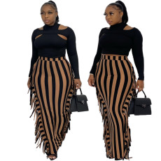 Hollowed out top tassel skirt casual suit