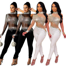 One shoulder perspective hot drill Jumpsuit