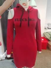 Fashion off shoulder hooded mid length top