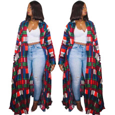 Plaid printed double breasted Lapel long coat