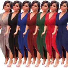 Tight long sleeve V-neck loose dress