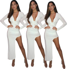 Sexy fashion deep V irregular dress