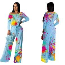 Fashion sexy splash print one-piece pants