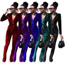 Solid color slim fit suit flared pants suit