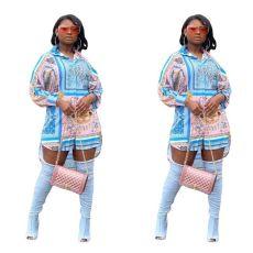 Fashion digital print multi shirt skirt