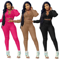 Solid color bandage long sleeve pants two piece set