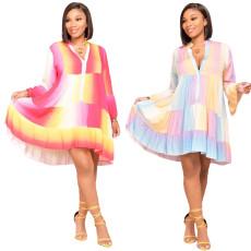 Fashion printed loose hem dress