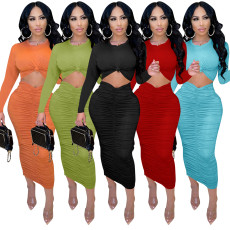 Slim top pleated Hip Wrap Skirt two piece set