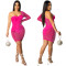 Sexy hot drill mesh perspective one shoulder dress