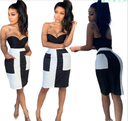 Fashion sexy pocket stitched skirt