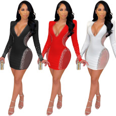Sexy hot drill mesh perspective dress