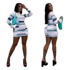 Fashion printed milk silk dress