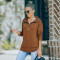Fashion Lapel solid long sleeve top