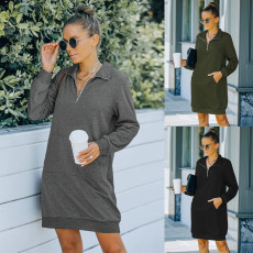 Casual fashion long sleeve solid dress