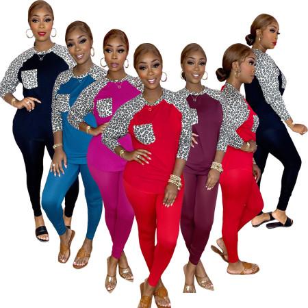 Fashion leopard stitching two piece set