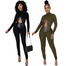 Casual zipper flocked leather splicing two-piece set