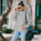 Fashion solid color loose long sleeve top