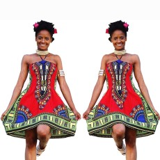 Sexy totem positioning printed suspender dress