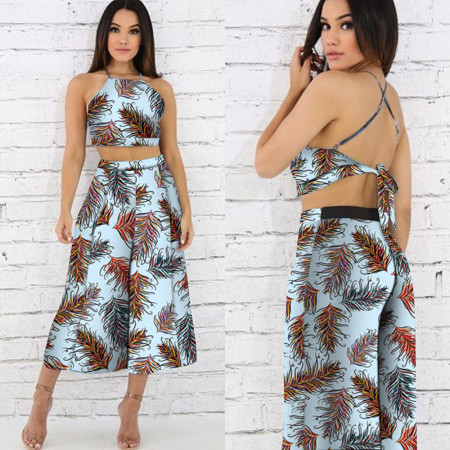 Sexy belly button sling print two piece set