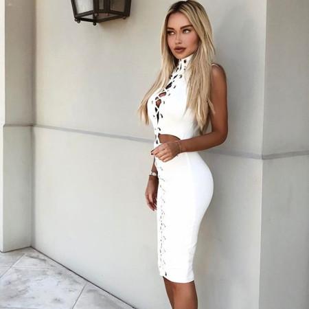 Sexy bandage sleeveless navel revealing dress