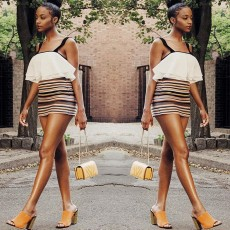Suspender stripe tight dress