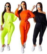 Fashion diagonal shoulder long sleeve belt Jumpsuit