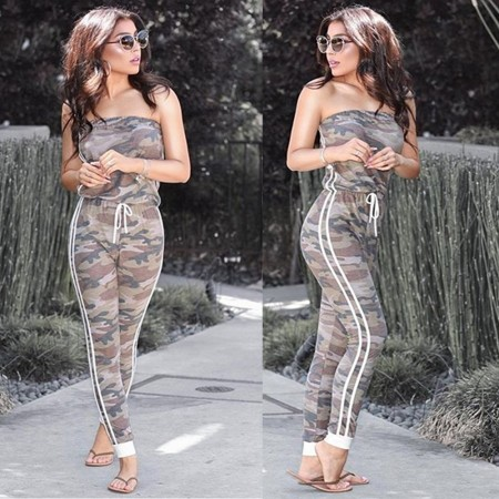 Sexy camouflage Strapless Jumpsuit
