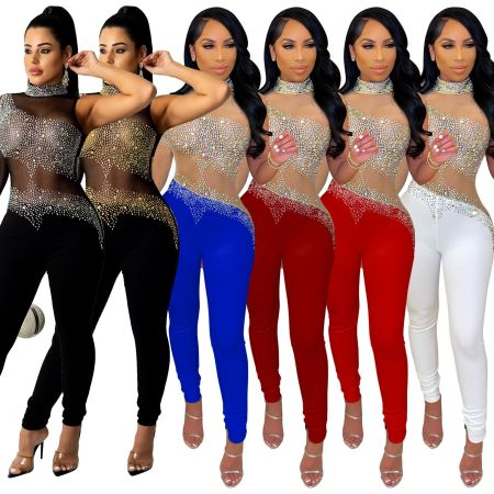 Fashion sexy perspective hot drill Jumpsuit