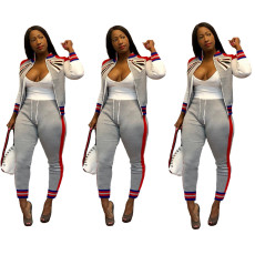 Fashion casual rib zipper sports suit