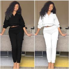 Fashion casual zipper long sleeve pants suit