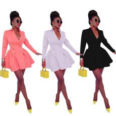 Fashion solid color irregular dress