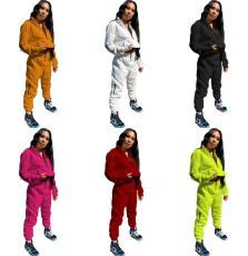 Solid color sweater pencil pants sports suit