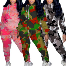 Hooded printed camouflage sweater set