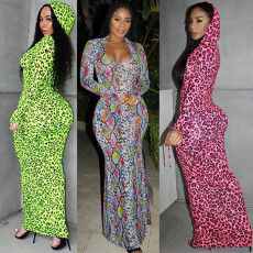 Fashion printed hooded Long Sleeve Dress