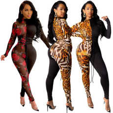 Sexy long sleeve patchwork print Jumpsuit