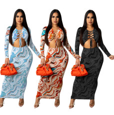 Sexy fashion printed long sleeve dress